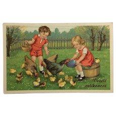 Feeding The Easter Chicks Postcard