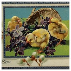 Tuck's Chicks And A Basket Embossed Easter Postcard