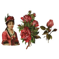 Three Pieces Old Album Scrap -Lady In Red And Roses