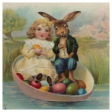 Little Girl And Mr. Rabbit With Colored Eggs Postcard