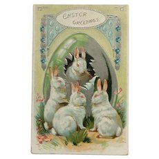 Tuck's Embossed White Easter Bunnies With Large Silver Egg Postcard
