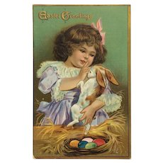 Little Girl Snuggles With Sweet Easter Bunny Postcard