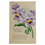 Hand Painted Postcard  Birthday Greeting- Lavender Pansies