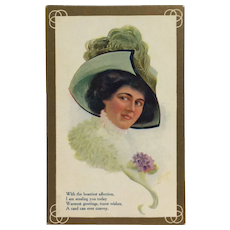 Fashion Queen In Dashing Hat With Plume