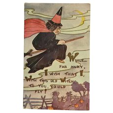 Fly With Halloween Witch Postcard