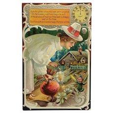 Halloween Garden With Green Gremlin Postcard