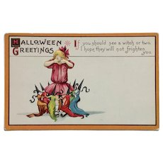 Dancing Halloween Witches Postcard
