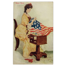 Betsy Ross And American Flag Postcard