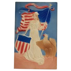 Lady Liberty With Eagle Airbrushed Postcard