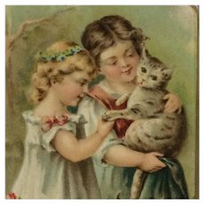 Two Girls And One Loved Kitty Postcard