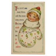 Christmas Girl In Mitten Postcard- Irene Marcellus