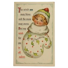 Christmas Girl In Mitten Postcard- Irene Marcellus