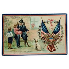 Civil War Grandpa With Grandchildren Memorial Day Postcard