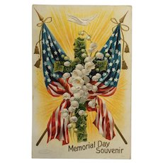 American Flags And Lily Of The Valley Memorial Day Postcard