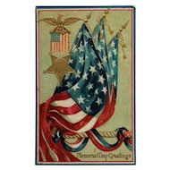 Memorial Day Greetings And Flags Postcard