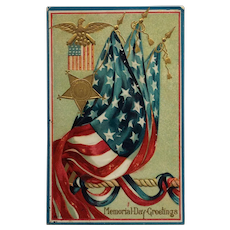Memorial Day Greetings And Flags Postcard