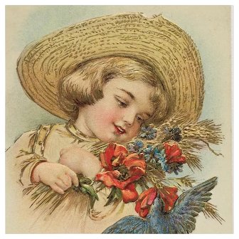 Child In Straw Hat With Bird- Maud Humphrey Postcard