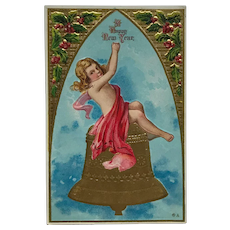 New Year's Child With Golden Bell Postcard