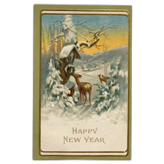 New Year's Visit From Deer Postcard