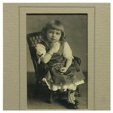 Matted Photograph-Little Girl Wearing Darling Boots