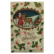 Santa And Reindeer With Sled