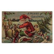 Santa And Reindeer Take Flight Postcard