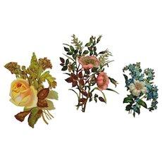 Lot Of 3-Spring Floral Die Cut Scrap
