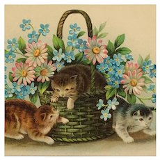 Curious Kittens And Spring Flowers Postcard