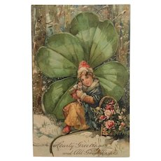 Exquisite Four Leaf Clover And Girl With Doll Postcard