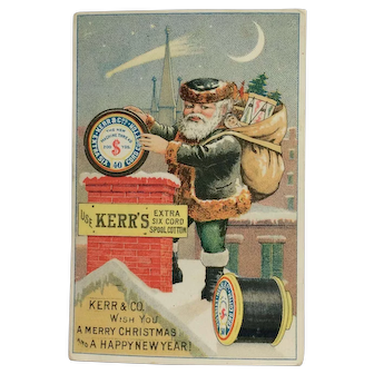 Green Suited Santa Trade Card- Kerr's Thread