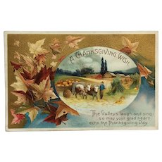 Countryside With Farmer's Cart  Thanksgiving Postcard