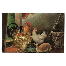 Thanksgiving Farmyard With Golden Turkey Postcard