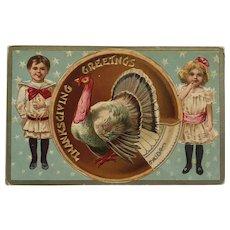 Boy And Girl Present Tom Turkey Postcard
