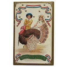 Patriotic Children With Thanksgiving Turkey