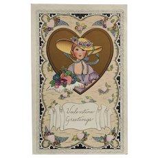 Valentine Beauty In Gold Heart Postcard