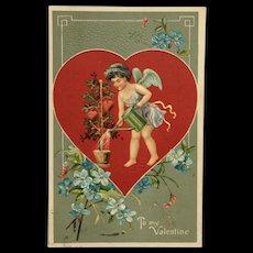 Valentine's Day Postcard Cupid Watering Heart Vine