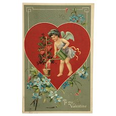 Valentine's Day Postcard Cupid Watering Heart Vine