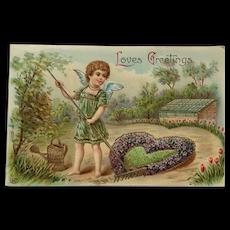 Cupid Tending Love's Garden Postcard