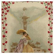 Lady With Fan In Love's Garden Postcard