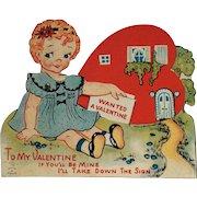 Vintage Mechanical Valentine With Big Eyed Girl