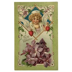 Valentine's Day Postcard-Embossed Curly Haired Cupid With Violets