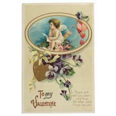 Thoughtful Valentine Cupid Sending Messages Of Love