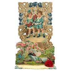 Children With Flowers Pop Up Valentine Card
