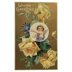 Cupid With Yellow Roses Postcard