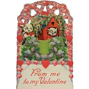 Valentine's Puppy Love- Large Die Cut Card With Honeycomb