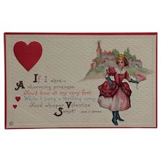 Princess Of Hearts Valentine Postcard