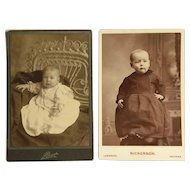 Two Cabinet Cards- Babies In Baby Dresses Pose For A Picture