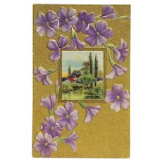Embossed  Violets And Country Home Postcard