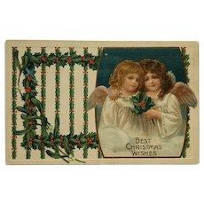 Christmas Angels With Sweet Faces And Holly