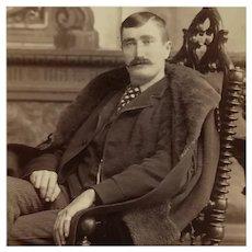 Cabinet Card- Handsome Man In Fur Lined Coat